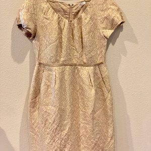 Jcrew holiday dress. Metallic gold pattern.